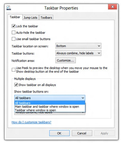 windows8多显示器任务栏设置