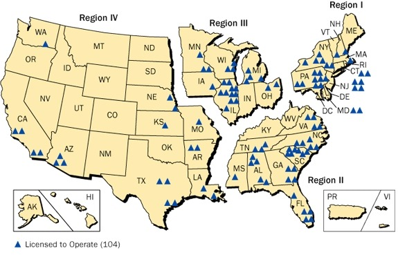 美国核电站地点分布
