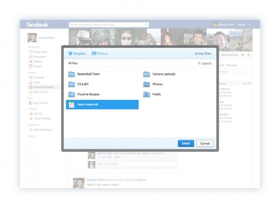 Dropbox Facebook integration