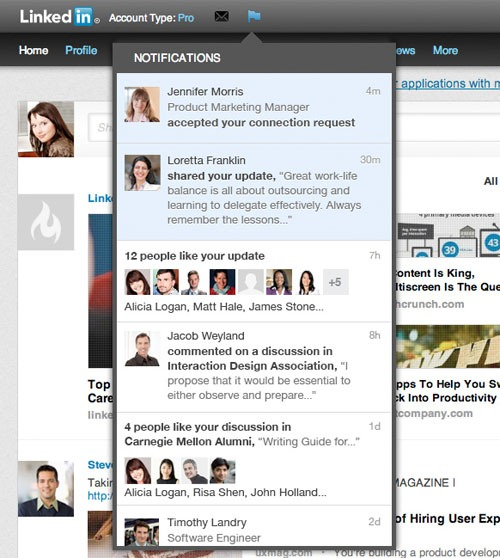 linkedin realtime notification