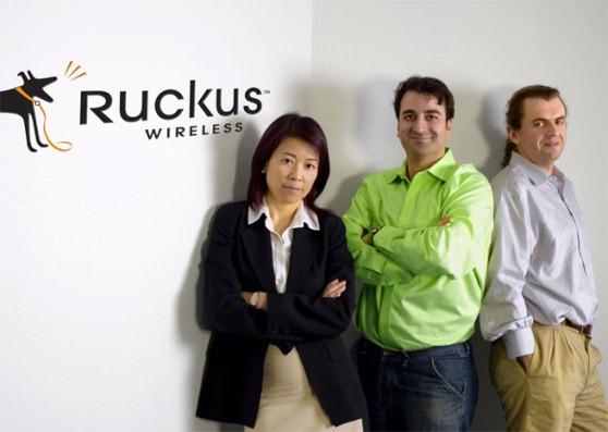 ruckus-wireless CEO Selina Lo, CTO William Kish, and chief wireless architect Victor Shtrom