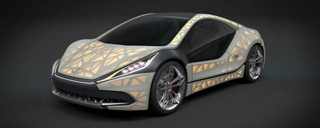 An EDAG Light Cocoon 3D printed concept car