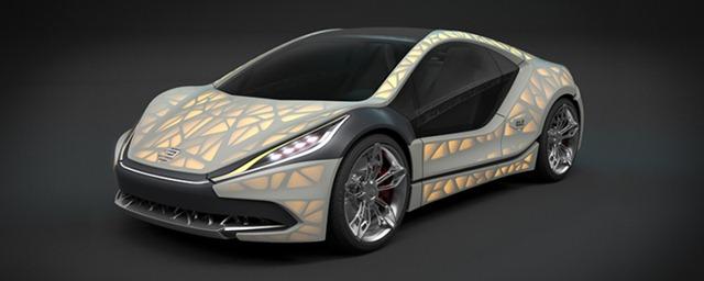An EDAG Light Cocoon 3D printed concept car